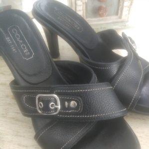 Coach black leather sandal dress shoes size 7 1/2